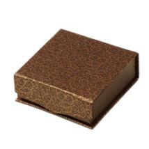 Barna alapon aranyszín mintázattal díszített doboz - karkötökhöz 93x93x33mm