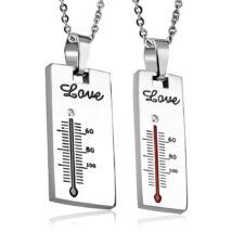 Szerelem Hőmérő- páros acél medál