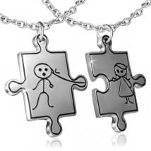 Fiú-Lány puzzle darabok- PÁROS hátoldalon gravírozható nemesacél medál