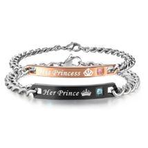 """""""HIS PRINCESS - HER PRINCE""""- PÁROS, hátlapon gravírozható nemesacél karkötő"""