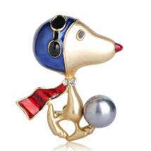 Snoopy - gyöngyös-kristályos ékszerbross