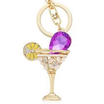Koktél - kristályos kulcstartó - lila