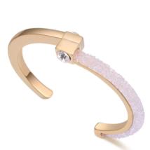 Design a négyzeten - Swarovski kristályos exkluzív női karperec - arany, fehér