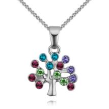 Életfa- színes-ezüst kristályos nyaklánc