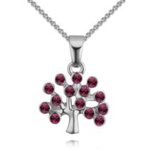 Életfa- sötét rózsaszín-ezüst kristályos nyaklánc