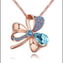 Lótuszvirág- kék-arany Swarovski kristályos nyaklánc