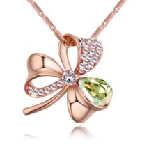 Lótuszvirág- zöld-arany Swarovski kristályos nyaklánc