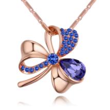 Lótuszvirág- lila-arany Swarovski kristályos nyaklánc