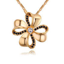 Szerencsehozó - Swarovski kristályos nyaklánc - arany, fekete