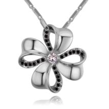 Szerencsehozó - Swarovski kristályos nyaklánc - ezüst, fekete