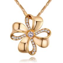Szerencsevirág - fehér-arany kristályos nyaklánc