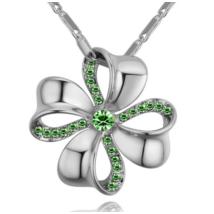 Szerencsevirág - zöld-ezüst kristályos nyaklánc