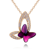 Bűbájos pillangó- lila- Swarovski kristályos nyaklánc