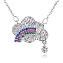 Szivárvány felhő- ezüst - kristályos nyaklánc