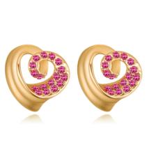 Spirálszív - rózsaszín - Swarovski kristályos fülbevaló
