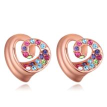 Spirálszív - színes - rózsa arany-  Swarovski kristályos fülbevaló