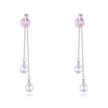 Perle Olor - lila -  Swarovski kristályos fülbevaló