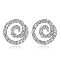 Spira - fehér és ezüst színű - Swarovski kristályos fülbevaló