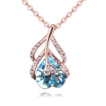 Flower of Heart - kék - Swarovski kristályos nyaklánc