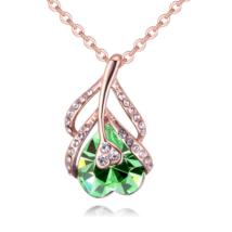 Flower of Heart - zöld - Swarovski kristályos nyaklánc - borostyán