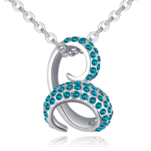 Bent snake- zöld-ezüst kristályos nyaklánc