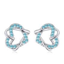 Fonott szív - kék-Swarovski kristályos - Fülbevaló