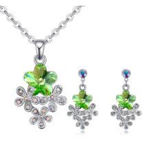 Virágcsokor ékszerszett - zöld - Swarovski kristályos