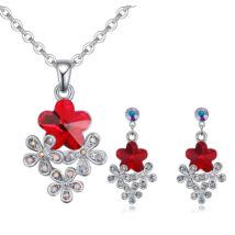 Virágcsokor ékszerszett - piros- Swarovski kristályos