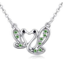 Hattyúpár - kristályos nyaklánc - zöld