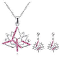 Platánfa levél- rózsaszín- Swarovski kristályos szett