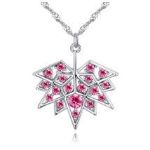 Juharlevél- rózsaszín- Swarovski kristályos nyaklánc