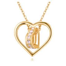 Áttört szív - Swarovski kristályos nyaklánc - arany