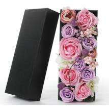 Szappanrózsák szögletes díszdobozban - rózsaszín
