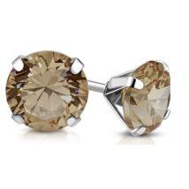Swarovski kristályos acél fülbevaló -  Topaz, 10 mm - barna