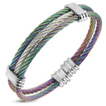 Sodrony - nemesacél karkötő - ezüst, színjátszó