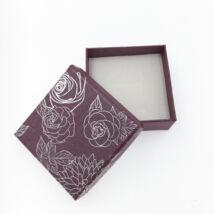 Rózsavirágos díszdoboz -  nyakláncokhoz,szettekhez- bordó,  6*6*2,5 cm