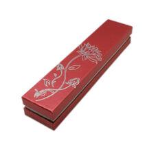 Lótuszvirágos díszdoboz - láncokhoz, karkötőhöz- piros, 22,5*4,7 cm