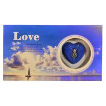 Gyöngykagyló - ajándékdoboz v- kék, tengeri motívummal