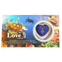 Gyöngykagyló - ajándékdoboz v- kék, teknős motívummal