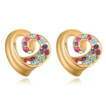 Spirálszív - színes-arany- Swarovski kristályos fülbevaló