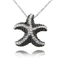 Tengeri csillag - valódi gyémánttal ékesített nyakék - fekete