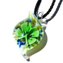 Muránói üveg medál, csepp alakú - zöld
