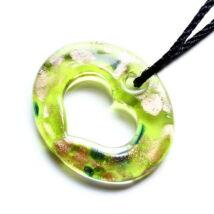 Muránói üveg medál, szív alakú lyukkal - zöldessárga