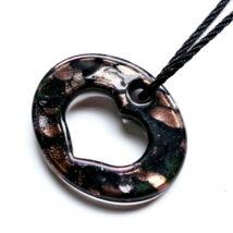 Muránói üveg medál, szív alakú lyukkal - fekete