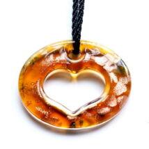 Muránói üveg medál, szív alakú lyukkal - narancssárga