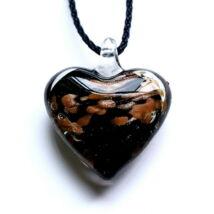 Muránói üveg medál, szív alakú - kávébarna