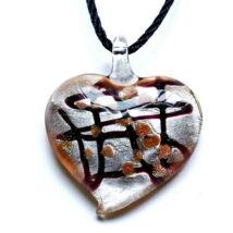 Muránói üveg medál, szív alakú - barna