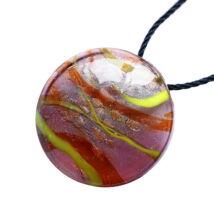 Muránói üveg medál, kör alakú -citromsárga-barna