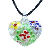 Muránói üveg medál, szív alakú, virágokkal - piros- sárga-kék