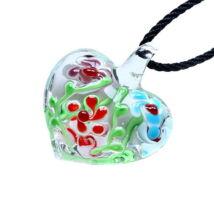 Muránói üveg medál, szív alakú, virágokkal - piros-világoskék-bordó